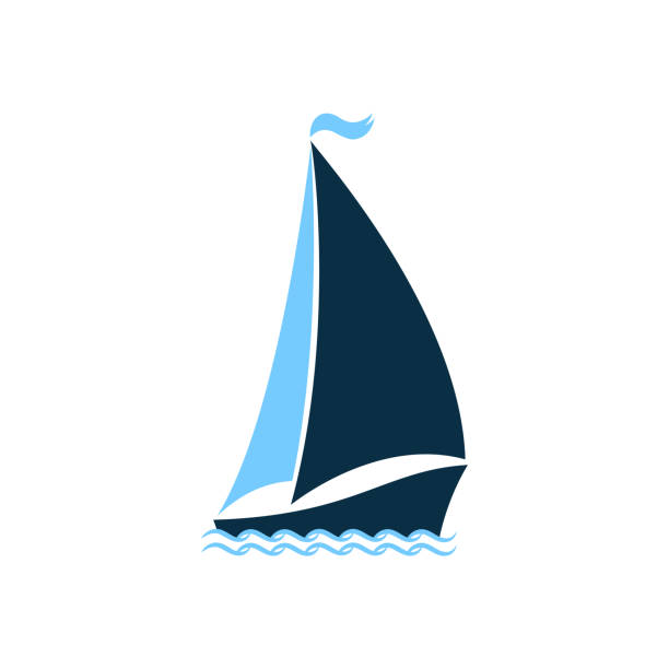 Ship at sea. Sailboat on the waves. Logo for yacht club, for a seafood restaurant. Nautical theme Ship at sea. Sailboat on the waves. Logo for yacht club, for a seafood restaurant. Nautical theme. tide stock illustrations