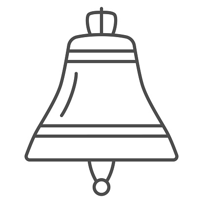 Ship bell thin line icon, Sea cruise concept, Nautical alarm equipment sign on white background, boat bell icon in outline style for mobile concept and web design. Vector graphics.