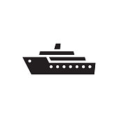 Ship - black icon on white background vector illustration. Marine sail boat concept sign. Transport symbol. Graphic design element.