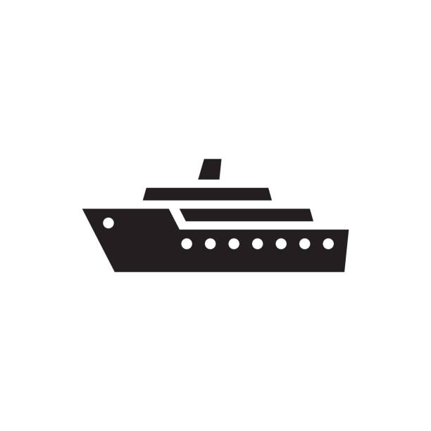 Ship - black icon on white background vector illustration. Marine sail boat concept sign. Transport symbol. Graphic design element. Ship - black icon on white background vector illustration. Marine sail boat concept sign. Transport symbol. Graphic design element. cruise vacation stock illustrations