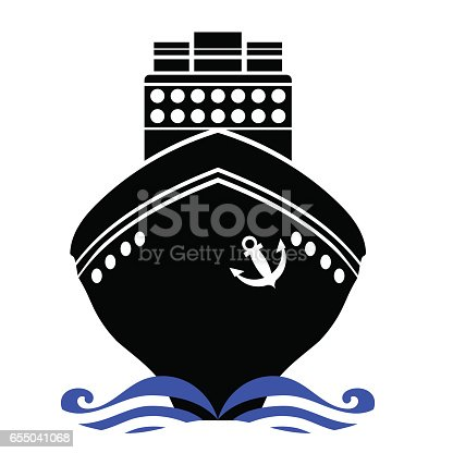 Ship Silhouette Isolated on White Background. Ship Icon