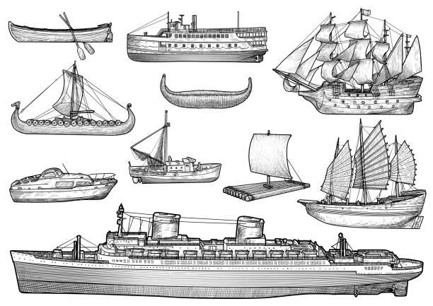 ship, boat illustration, drawing, engraving, ink, line art, vector - statek stock illustrations