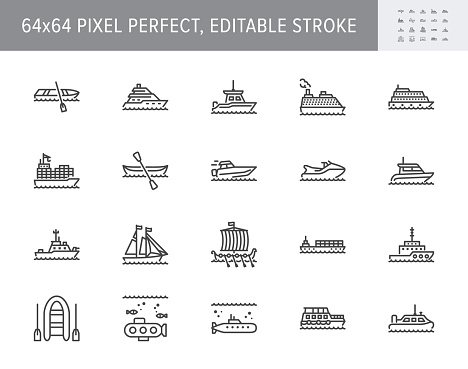 Ship, boat line icons. Vector illustration included icon as yacht, cruise, cargo shipping, submarine, ferry, canoe, schooner outline pictogram for water transport. 64x64 Pixel Perfect Editable Stroke.