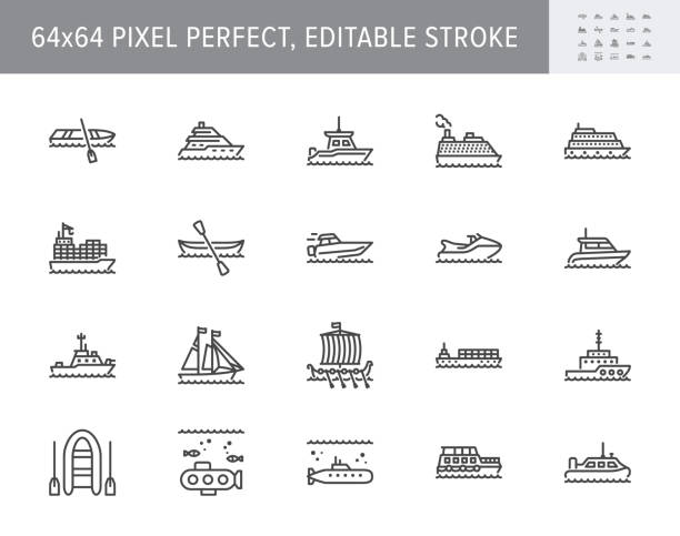 Ship, boat line icons. Vector illustration included icon as yacht, cruise, cargo shipping, submarine, ferry, canoe, schooner outline pictogram for water transport. 64x64 Pixel Perfect Editable Stroke Ship, boat line icons. Vector illustration included icon as yacht, cruise, cargo shipping, submarine, ferry, canoe, schooner outline pictogram for water transport. 64x64 Pixel Perfect Editable Stroke. sailing dinghy stock illustrations