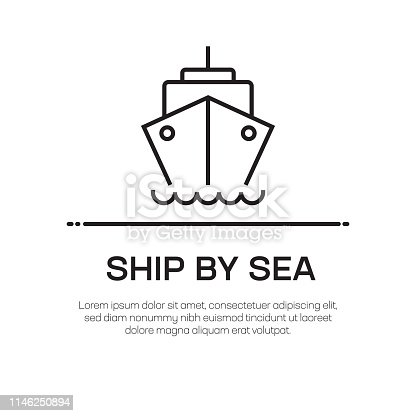 Ship By Sea Vector Line Icon - Simple Thin Line Icon, Premium Quality Design Element