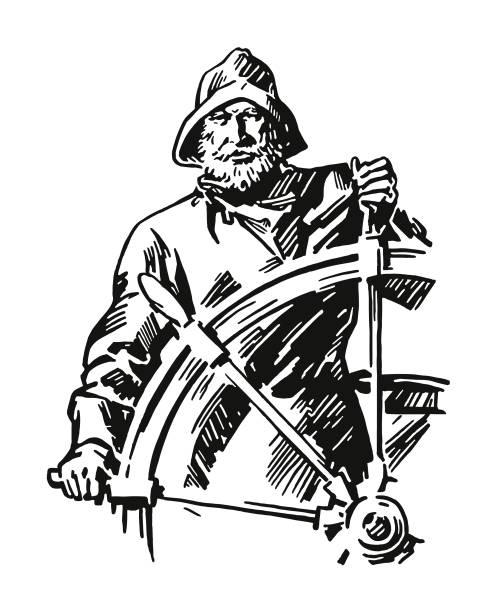 船舵を取って船長 - 漁師点のイラスト素材/クリップアート素材/マンガ素材/アイコン素材