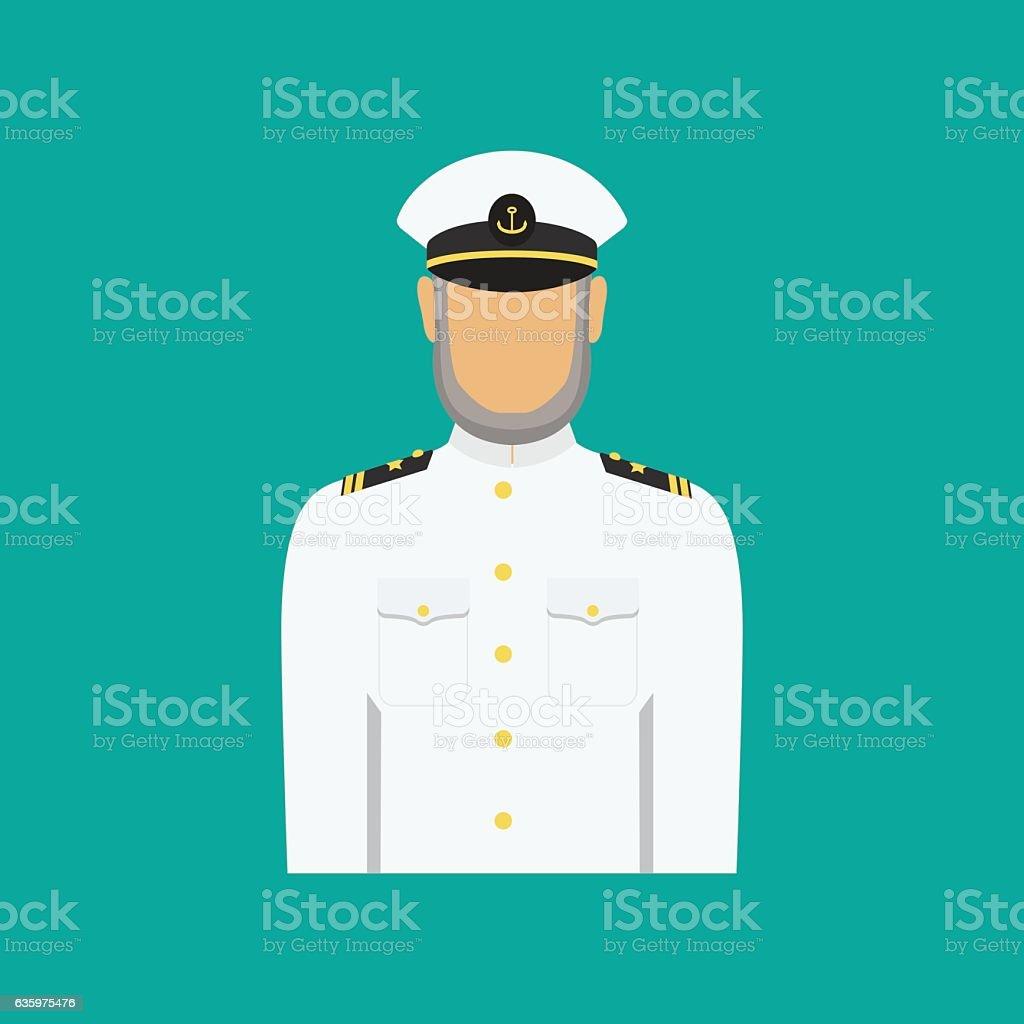 Ship captain in uniform in flat style. Vector illustration. vector art illustration