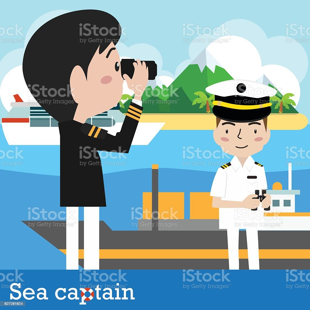 Ship captain vector art illustration