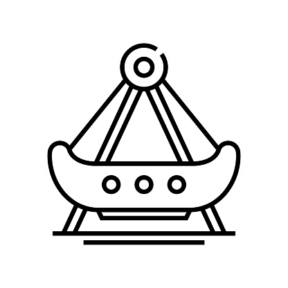 Ship carousel line icon, concept sign, outline vector illustration, linear symbol