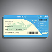 ship / cruise ticket for traveling by ship. vector illustration