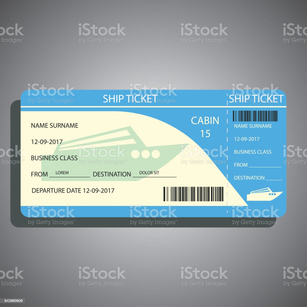 ship / cruise ticket for traveling by ship. vector illustration vector art illustration