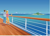 Vector illustration of a couple on a ship deck, looking at a small tropical island at the horizon. The couple is on separate layers and can easily be removed. Elements are grouped. The man and the railing are rendered completely. Only simple gradients used. The sky is one simple gradient.