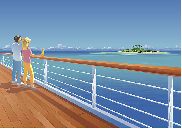 Ship Deck Couple and Tropical Island Vector illustration of a couple on a ship deck, looking at a small tropical island at the horizon. The couple is on separate layers and can easily be removed. Elements are grouped. The man and the railing are rendered completely. Only simple gradients used. The sky is one simple gradient. cruise vacation stock illustrations