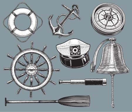 Ship Equipment - Anchor, Life Preserver, Compass