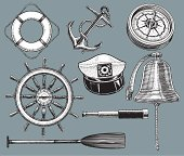 """Ship equipment. Pen and ink illustrations of nautical equipment. Anchor, float or life preserver, compass, rudder, captains hat, ship bell, telescope, oar or paddle. Check out my """"Nautical & Beach"""" light box for more."""