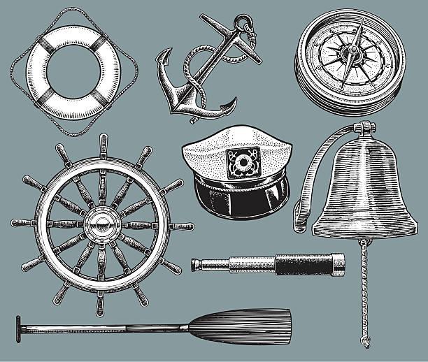 schiff geräte-anker und leben preserver, compass - matrosenmütze stock-grafiken, -clipart, -cartoons und -symbole