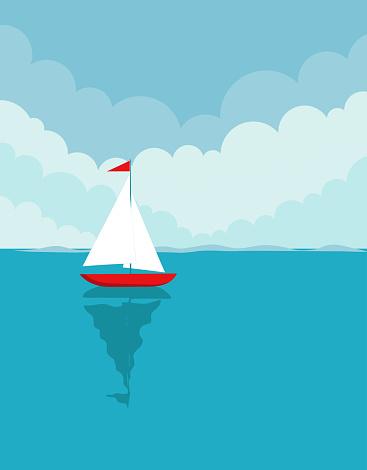 ship floating in the ocean, vector illustration
