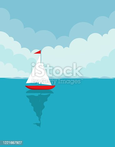 vector flat summer landscape, illustration with ship sailing in water on blue clouded sky background, perfect for sea tours and travel poster, placard, flayer, leaflet, banners