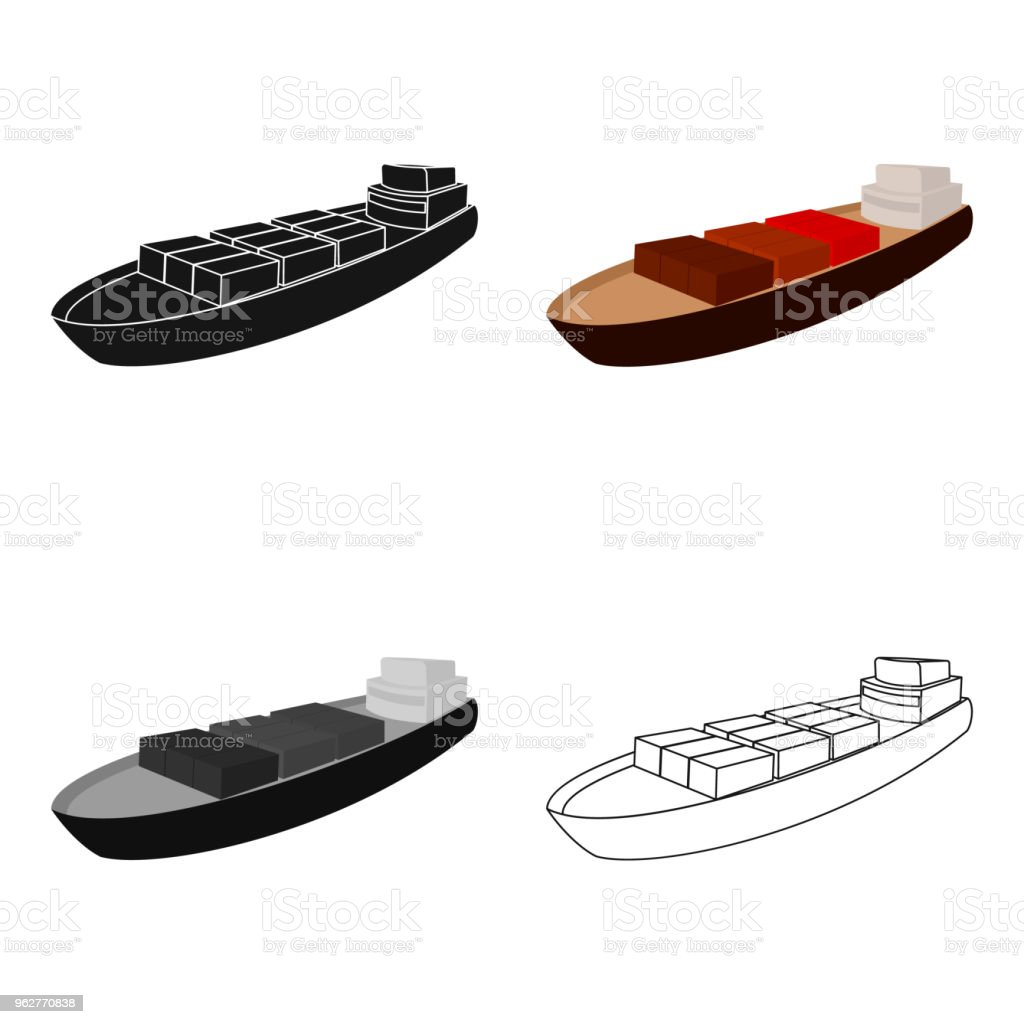 A ship for the transport of heavy goods over long distances by sea and ocean. Water freight transport.Transport single icon in cartoon style vector symbol stock web illustration. - arte vettoriale royalty-free di Acqua