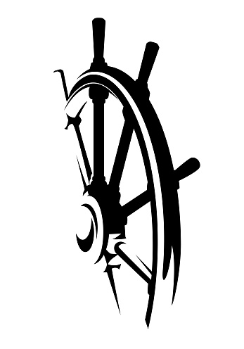ship helm black and white vector design