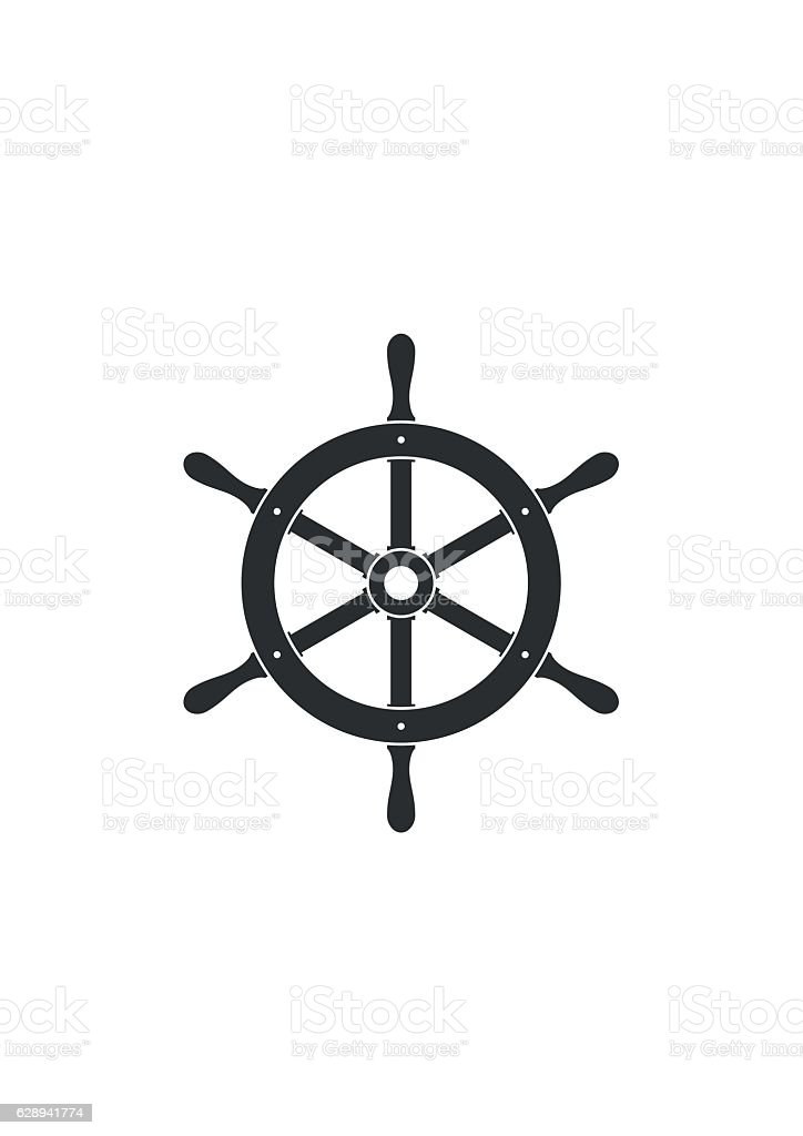 Ship helm icon isolated. Yacht steering wheel vector vector art illustration