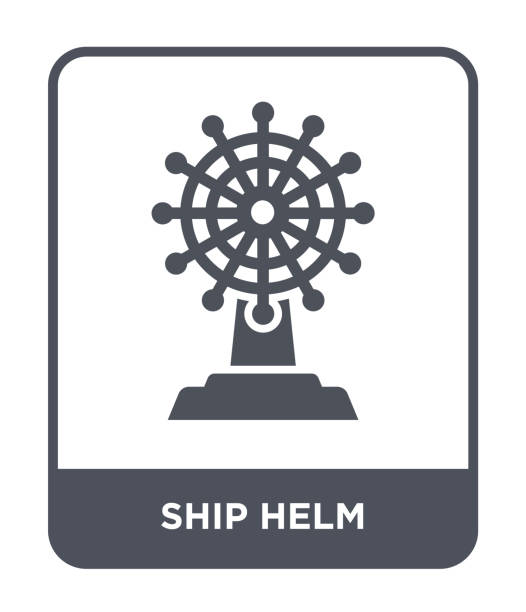 ship helm icon vector on white background, ship helm trendy filled icons from Transportation collection vector art illustration