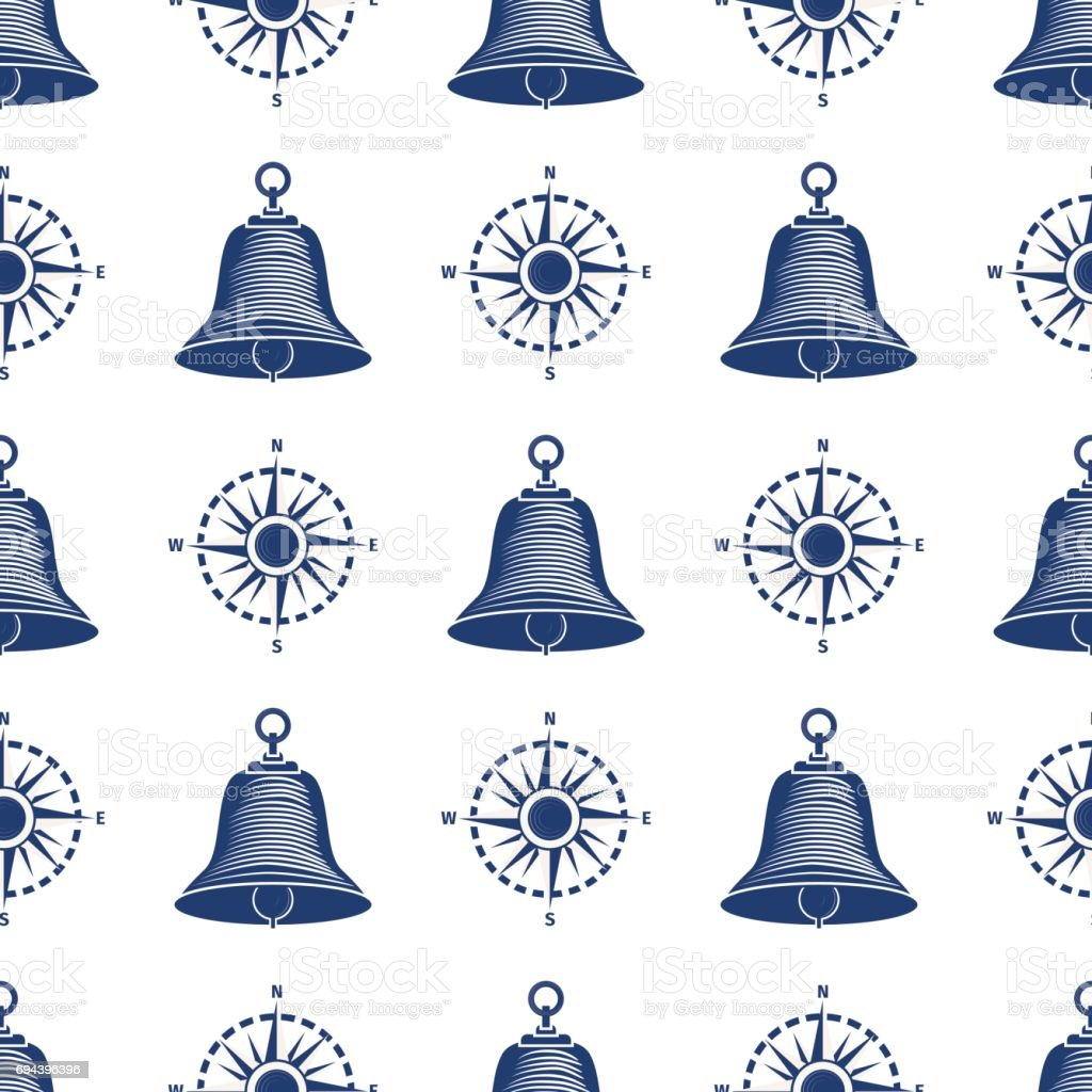 Ship helm seamless pattern marine boat wheel. vector art illustration