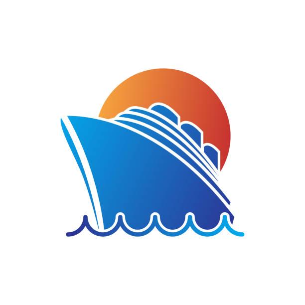 illustrations, cliparts, dessins animés et icônes de icône du navire - croisière