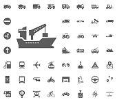 Ship icon. Transport and Logistics set icons. Transportation set icons