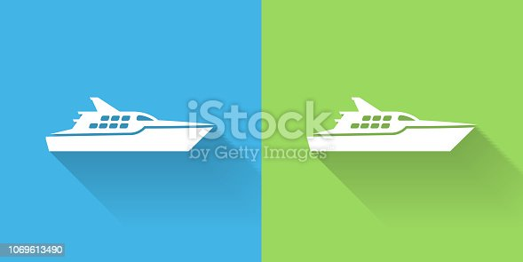Ship Icon with Long Shadow. The icon is on Blue Green Background with Long Shadow. There are two background color variations included in this file. The icon is rendered in white color and the background is blue or green. There is also a 45 degree long shadow.