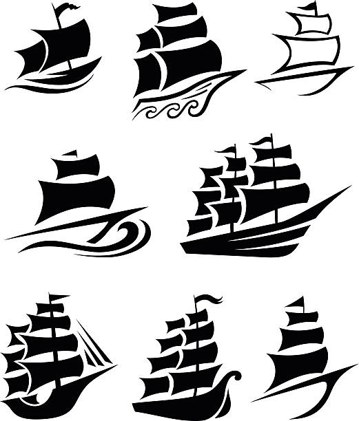 Ship icons Set of 8 ship icons in black pirate ship stock illustrations