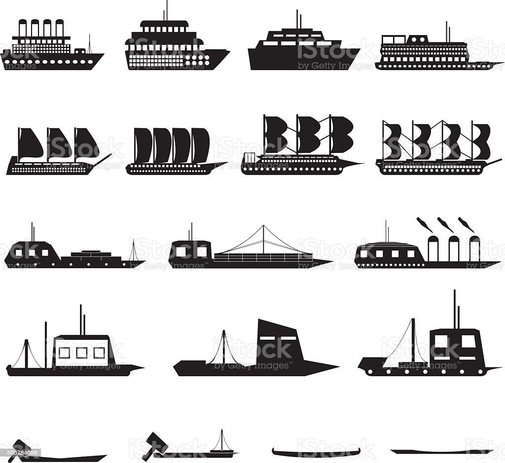 Ship Icons vector art illustration