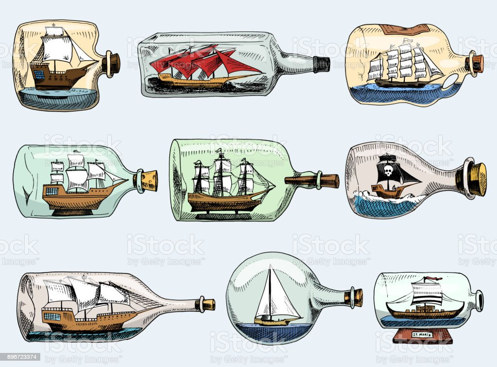Ship in bottle vector boat in miniature gifted sail souvenir in glass sailboat with cork or shipping in flask isolated on the white background vector art illustration