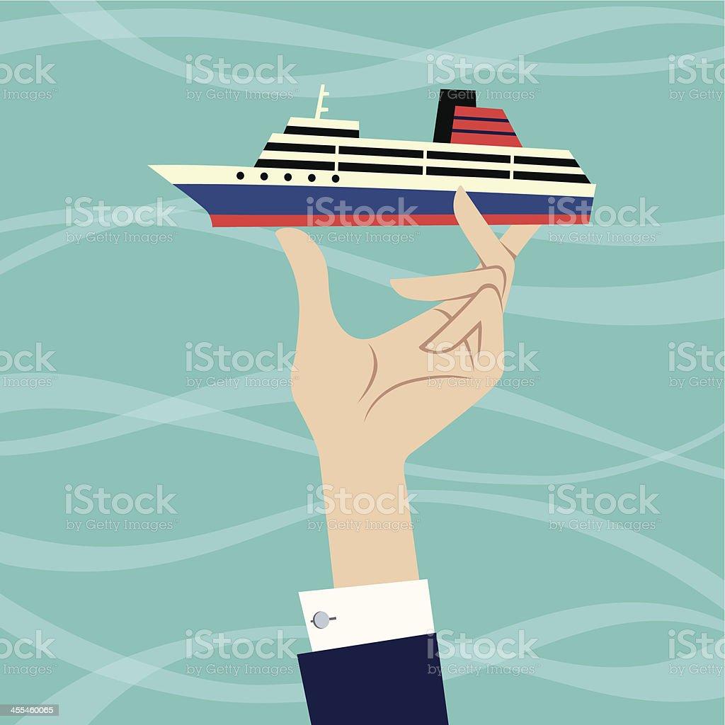 Ship in Hand. vector art illustration