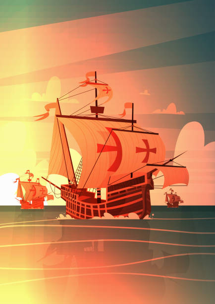 일몰 행복 콜럼버스의 날 국가 미국 휴가 개념에 바다에 배 - columbus day stock illustrations
