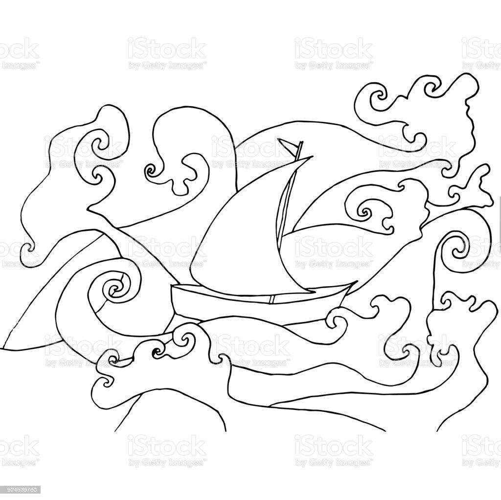 Ilustración de Nave En Tormenta En El Océano Monocromo Para Colorear ...