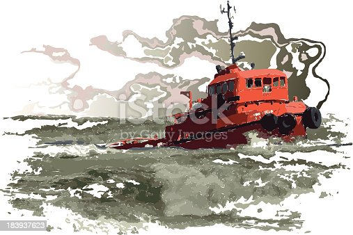 vector illustrator of ship in stormy sea.