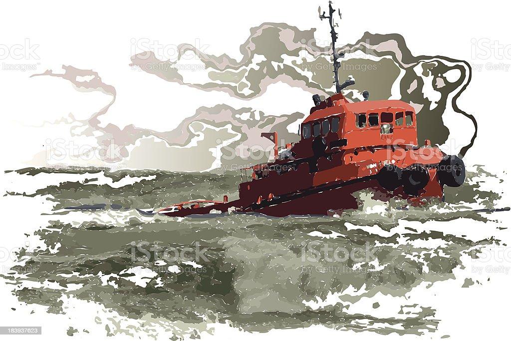 ship in storm vector art illustration