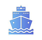Ship logistics design with gradient painted by path of the icon. Papercut style graphic can also be used as simple vector template for silhouette illustrations.