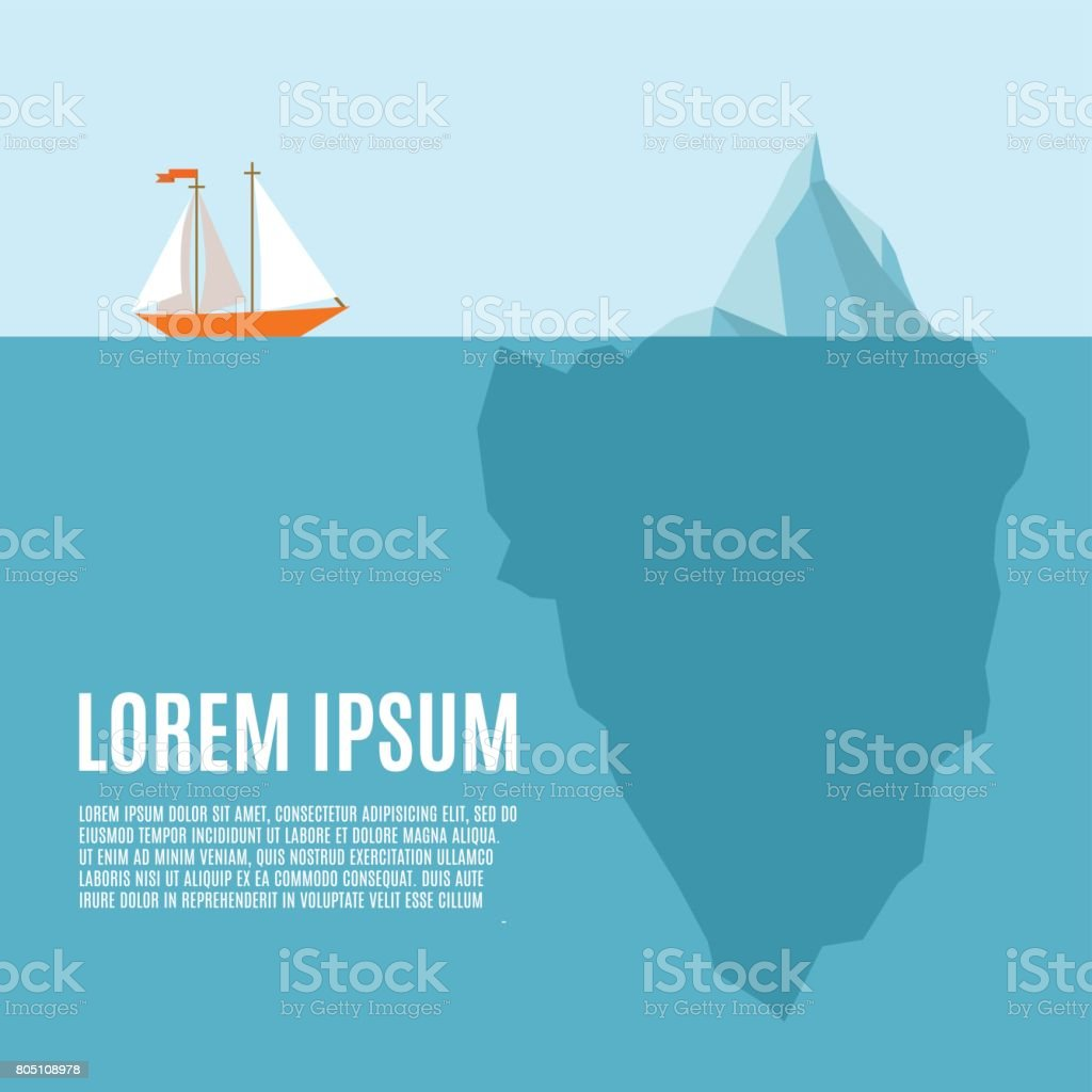 Ship meets  an iceberg - infographic template