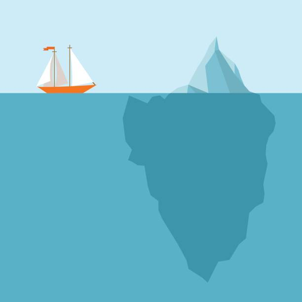 ship meets  an iceberg - infographic template - antarctica travel stock illustrations