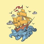 ship of the  see badge logo in vintage old school design, pirate ship cartoon, T-shirt design illustration - Images vectorielles