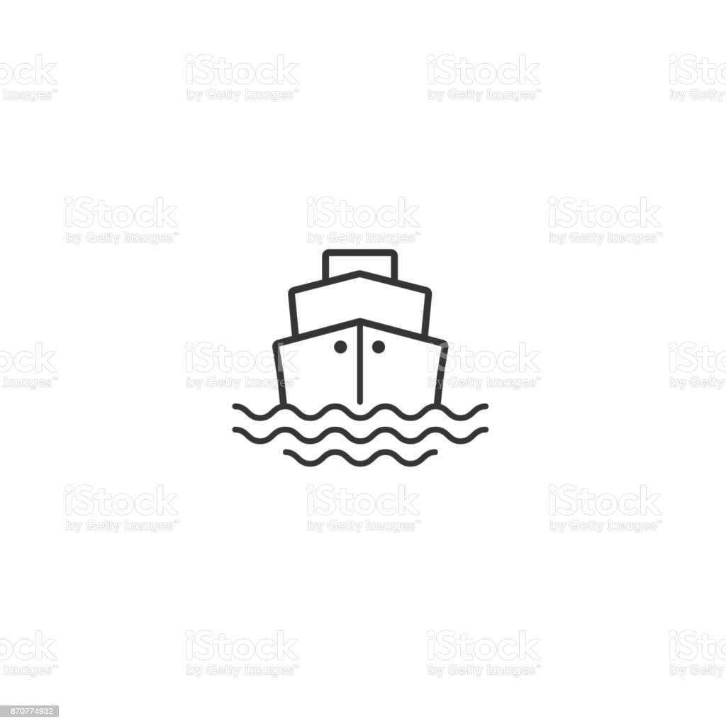 Ship or steam boat flat icon isolated on white vector art illustration