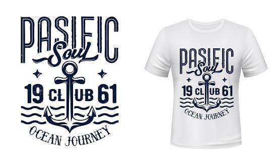 Ship or yacht anchor t-shirt vector print mockup