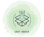 Ship Order Icon with Watercolor Patch