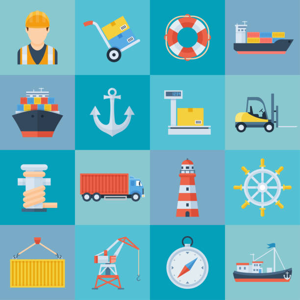 ilustrações de stock, clip art, desenhos animados e ícones de ship port icon set - porto