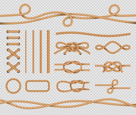Ship rope elements. Realistic marine loops and knots. Nautical ropes. Vector isolated set on transparent background
