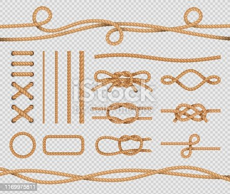 Ship rope elements. Realistic marine loops and knots. Nautical ropes with marine node. Vector isolated set on transparent background