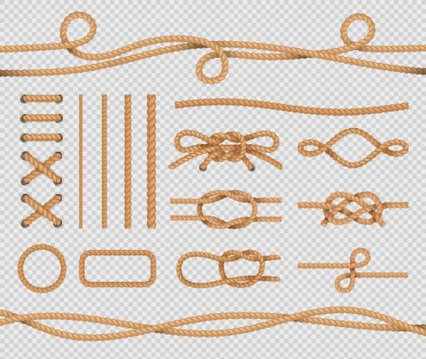 stockillustraties, clipart, cartoons en iconen met schip touw elementen. realistische mariene lussen en knopen. nautische touwen. vector geïsoleerde set op transparante achtergrond - touw