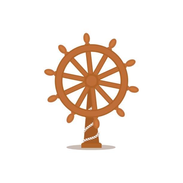schiff, segelboot lenkrad, cartoon-vektor-illustration - matrosenmütze stock-grafiken, -clipart, -cartoons und -symbole